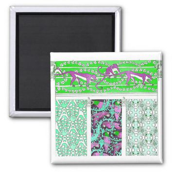 Pink baboon and parrot jungle tileb print magnet