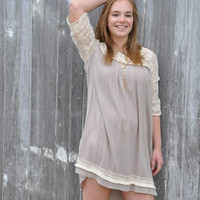 Plus Size Light Brown Dress with Lace