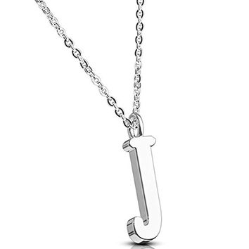 BodyJ4You Necklace Letter J Initial Alphabet Charm J Stainless Steel Chain
