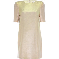 River Island Womens Pink metallic shift dress