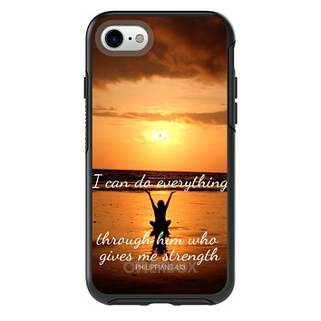 DistinctInk™ OtterBox Symmetry Series Case for Apple iPhone or Samsung Galaxy - Philippians 4:13 - I can do everything through Him who gives me strength
