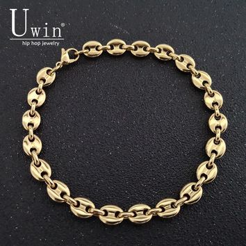 UWIN Stainless Steel Coffee beans Bracelet 8mm 22.5cm Hip hop Style Gold Silver Link Fashion Punk Choker Charms Jewelry