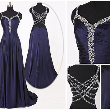 Gorgeous Navy Blue Prom Dress, Beaded Straps Evening Dress, Long Party Dress, Navy Women Dress, Crossing Beaded Back Charming Evening Dress