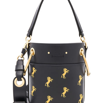 Chloe Mini Roy Horse Embroidered Bucket Bag in Full Blue & Yellow | FWRD