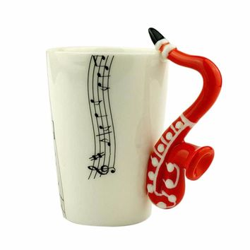 Music Note Guitar/Violin/Saxophone Ceramic Cup Personality Milk Juice Lemon Mug Coffee Tea Cup Drinkware Gift