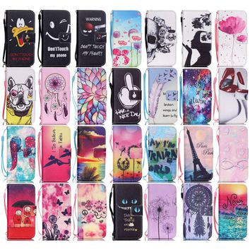 For Apple iPhone 5S Case Flip PU Leather Couple He's Mine Pink Flowers Wallet Stand Design Covers Shell & Strap For iPhone 5 SE