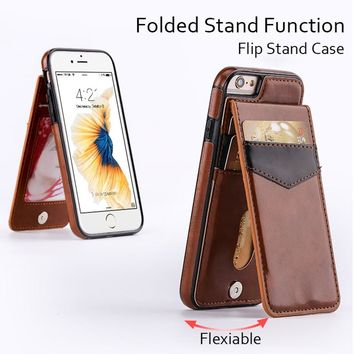 Flip Leather Case for iPhone X 7 8 Plus 6 6s Plus Phone Cases Luxury Vertical Card Slot Kickstand Cover for Samsung S8 S8+ S7