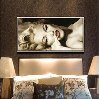 Without Framed Sexy Canvas Painting Wall Art Oil Painting On Canvas Marilyn Monroe Wall Picture Decor Living Room Decoration Pictures (Color: Multicolor)