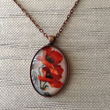 Poppy glass domed necklace, red pendant with poppies on copper 22 inch chain