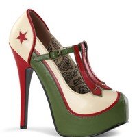Bordello Military Themed T-Strap Platform Pumps