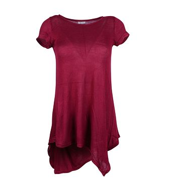 Women Solid Round Neck Short Sleeve Asymmetrical Irregular Hem Hi-Low Tunic Top