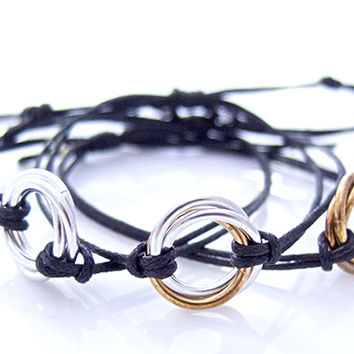 Infinity Silver Chainmaille Cord Bracelet, Triple Rings, Skinny Bracelet - 50% Off - Price Already Marked Down
