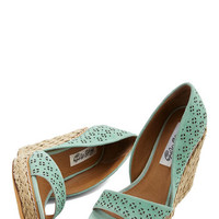 ModCloth Pastel Main Street Meander Wedge in Mint
