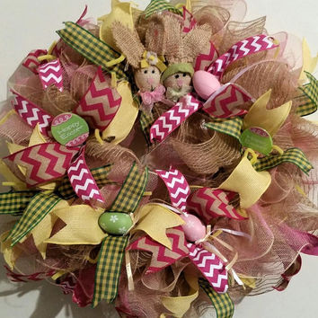 Easter Deco Mesh Natural Jute Door Wreath with Bunny Friends, colored eggs, picks and ribbons. Spring