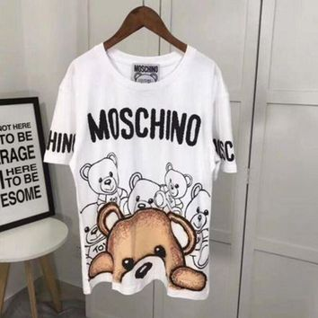 ONETOW MOSCHINO Woman Men Fashion Print Tunic Shirt Top Blouse T-shirt White Tagre?
