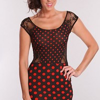 Black Red Polka Dot Printed Dress