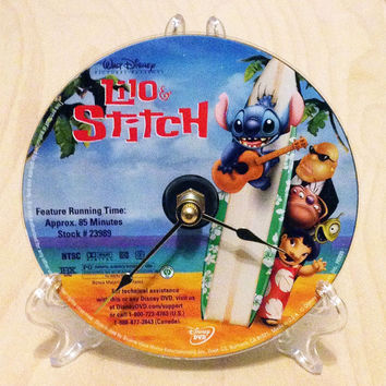 CD Clock, Desk Clock, Wall Clock, Lilo and Stitch DVD, CD, Recycled Music Compact Disc, Upcycle, Battery, Wall Hanger & Stand