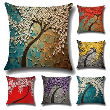Painting trees flowers pattern Cushions Pillow Case Decorative Pillows cover for Sofa Home Office Chair Home Decor