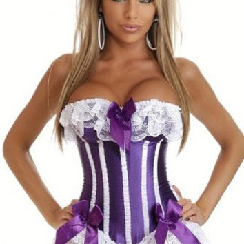 Purple White Burlesque Pin-Up Corset Intimates @ Amiclubwear Intimates Clothing online store:Lingerie,Corset,Bustier,Women's Intimates,Sexy Intimate,Corset Intimates,intimates underwear,sheer intimates,silk intimates,intimates bras,holiday underwear,garte