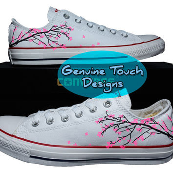 Hand Painted, cherry blossom tree, Fanart shoes, Custom converse, Birthday Gifts, Christmas Gifts, Art work shoes