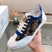 Versace 2019 new fashion versatile hot stamping men's casual shoes White