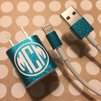 GLITTER Monogrammed iPhone Decal Set   iPhone Decal   Monogrammed iPhone Decals   Personalized iPhone Block   iPhone Charger   233