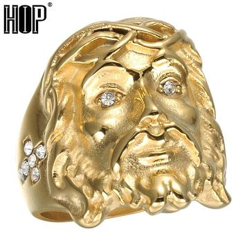 HIP Hop Rock Iced Out Gold Color Titanium Stainless Steel Bling 3D Christ Jesus Piece Cross Rings for Men Jewelry