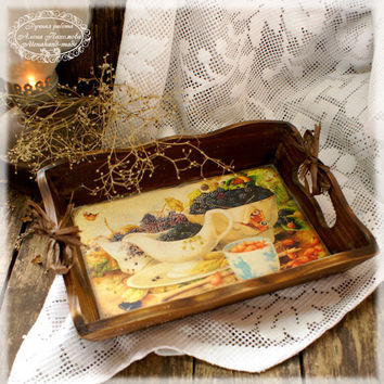 """Vintage look Wood Serving Tray , Wooden tray  """"Garden blackberry"""" ,serving tray ,wood serving tray"""