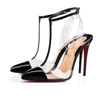 Nosy 100 Black/Transp Patent Leather - Women Shoes - Christian Louboutin