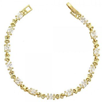 Gold Layered 5.026.006 Fancy Bracelet, Hugs and Kisses Design, with White Cubic Zirconia, Polished Finish, Gold Tone