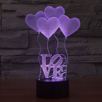 Beautiful Heart Lamp 3D Visual Led Night Lights for Kid Switch USB Charger Table Lamps as Besides Lampe Baby Sleeping Nightlight