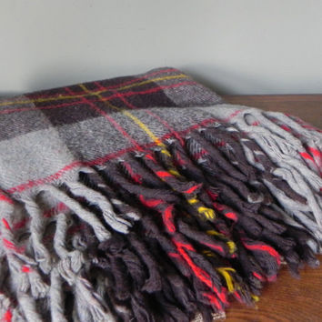 Vintage plaid throw stadium blanket wool - grey brown, red, brown heather - fringe on two sides