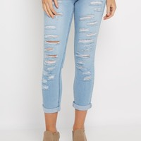 Light Blue Destroyed Mid Rise Cropped Jean | Cropped Jeans | rue21