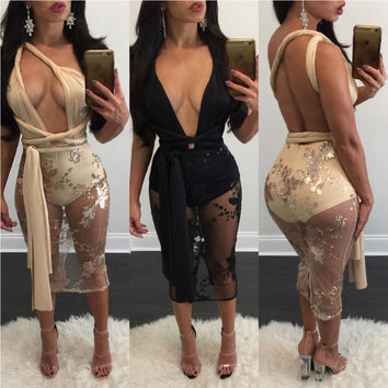 Sexy Halter Backless Bandage Embroider Short Bodycon Dress