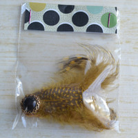Womans christmas gift, hair clip. Spotted feathers with button. No slip grip clip. -ONE of A KIND- (Made by lippy brand)