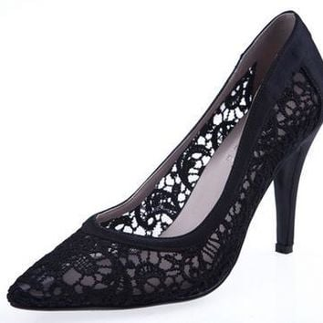 Women Cutout Satin Fabric High Heels Sexy Lace Wedding Shoes Shallow Mouth Pointed Toe Genuine Leather Bride Pumps