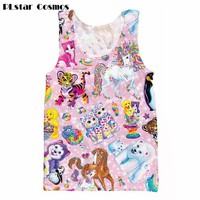 Lisa Frank Character Collage printing 3d Tank Tops Summer Vest Men/women Cartoon Shirts Tops plus size 4XL 5XL Drop shipping
