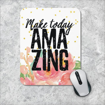 Quote Mousepad, Amazing Mouse Pad, Watercolor Mouse Mat, Custom Mousepad, Floral Mouse Pad, Golden Polka Dots,  Inspirational Quote Mousepad