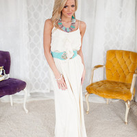 Ruffle Top Maxi Dress with Cinched Waist in Cream