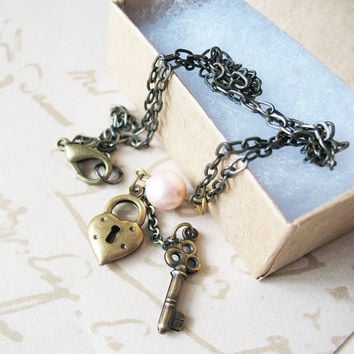 Heart and Key Charm Necklace - Soft Pink Pearl - Love