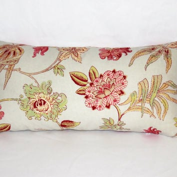 "Pale Blue Floral Pillow, 12 x 24 "" Linen,  Lumbar Rectangle Shape, Red Pink Green Flowers,   Ready to Ship"