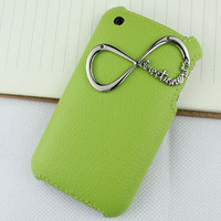"One Direction ""Directioner"" Infinity  Light Green Skins Leather Hard Case Cover for Apple iPhone 3 Case, iPhone 3gs Case"