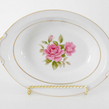Narumi Japan Sharon Pattern Pink Rose Bowl Oval Gold Rimmed Servingware