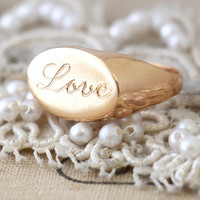Love Ring, Seal Gold engraved Ring, Statement ring, Gift for woman, Gold Oval Love Ring, Valentines day, trending jewelry, meaning jewelry.