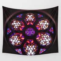 Iglesia del Valle Rosary Window Wall Tapestry by Christine Aka Stine1