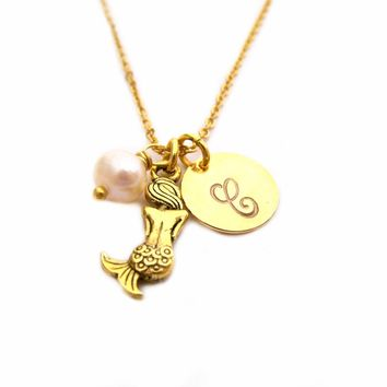 Mermaid Necklace - Gold Initial Necklace - Birthstone Necklace - Gold Initial Disc Necklace - Personalized Necklace - Initial Charm Necklace
