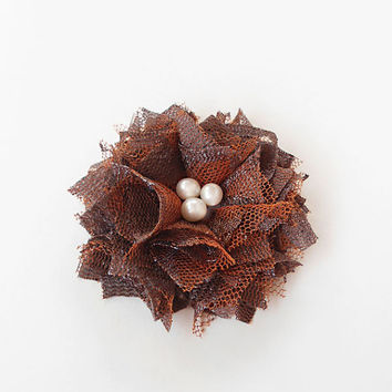 Brown Lace Flowers Hair Clips, Fabric Flower Hair Accessories for Women, Brown Flower Hair Pieces with Pearls - Fall Autumn