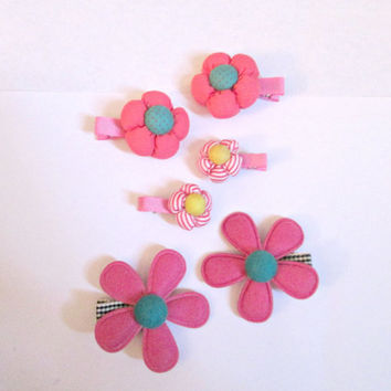Fabric flower hair clips-flower clips-fabric flower hair pin-kids hair clips-grils hair clips- set of 6 clips