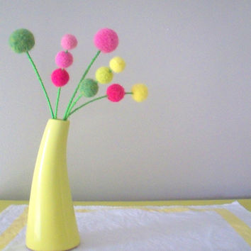 Felt flowers.Pink and yellow. Wool craspedia. Yarn pompoms . Round bloom. Small bouquet. Pink lemonade. Modern floral spray. Bright flowers.