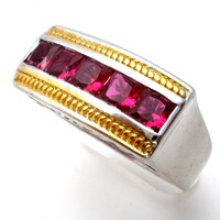 Lab Created Ruby Silver Ring STS Karis
